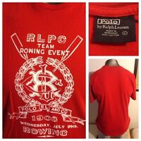 RARE Polo Ralph Lauren Red RLPC Team Rowing Event 1908 T-Shirt Men's L EUC