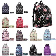 Ladies Girls School Bag Canvas Travel Rucksack Backpack and Pencil Case