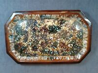 RARE BRETBY ART POTTERY SERVING TRAY GLAZED MOTTLED BLUE,GREEN,BROWN & BLACK