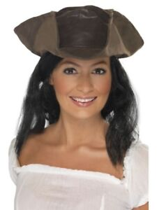 Leather Look Pirate Hat Adult Mens Smiffys Fancy Dress Costume Hat
