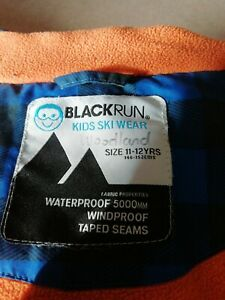 Boys Blackrun Ski Jacket Age 11-12, warm waterproof coat