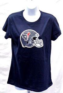 Houston Texans Football Ladies Helmet Short Sleeve T-Shirt Large Navy