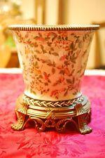 Asian Vase Flower Deco Style Porcelain & Bronze Ceramic Floral & Birds Butterfly