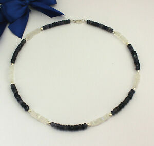 Classy Rainbow Moonstone Chain With Iolite Blue Faceted Women's Necklace 46cm