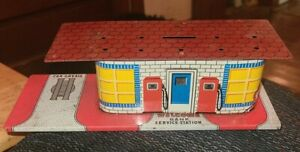 Vintage Rare 1950s Tin Litho Welcome Bank Gas Service Station Toy