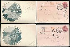 POSTAGE DUE AUSTRALIA 1904 PPCs LAUNCESTON NEWCASTLE DUPLEX to HULL GB...2 CARDS