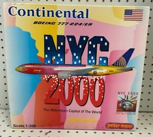 """JC Wing 1:200 Continental Boeing 777-224/ER 12"""" W/S Tail# N77014 Item #XX2108"""