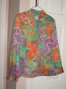 Coldwater Creek Multi Color Button Up Blazer Jacket Size P Small