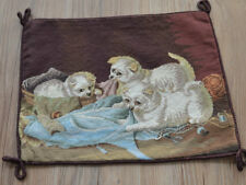 """16"""" Vintage Completed Needlepoint Rustic Puppy Dog Pillow Sham Cover Brown Wool"""