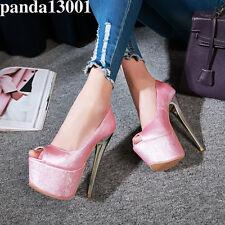 Women's High Heel Peep Toe Platform Pumps Party Shoes UK Plus Size 1-12 L120