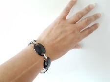 Silver tone  & black enamel flat round linked disc bracelet * Clearance *