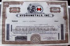 3 different. Stock certificate Hydrometals, Inc. State of Illinois