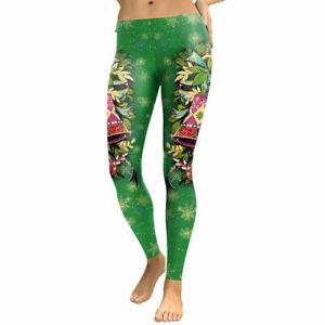UK Christmas Stretchy Women Leggings 3D Print Casual Workout Gym Yoga Pants
