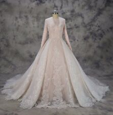 REGNO Unito speciale in Pizzo Bianco/Avorio/Rosa Manica Lunga musulmani Wedding Dress Size 6-16