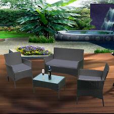 Gartenmöbel Poly-Rattan 4 Personen Teakholz Essgruppe Schwarz Lounge Tisch Set