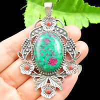 Retro Tibetan silver inlay Ruby in Fuchsite & Turquoise Pendant Bead NN107