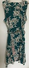 Green Blossom Spray Cut Out Neck Dress - Size 14 UK