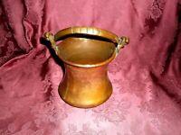 Antique Copper Pot Cauldron Kettle Brass Handle
