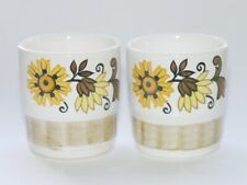 2 vtg Royal Worcester Palissy TIFFANY egg cups floral retro 1970s