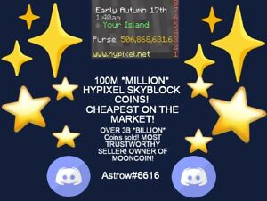 ✨🌙 100M *MILLION* Hypixel Skyblock Coins! *CONTACT Astrow#6616 ON DISCORD! 🌙✨