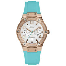 NEW GUESS WATCH Women * Rose Gold * Turquoise Silicone Band * U0564L3/W0564L3