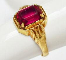 Antiker Damenring 14 Karat 585 Gold 2 g Gelbgold Turmalin 1880 / 1900 Gr. 51