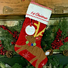 POTTERY BARN KIDS PET FIRST CHRISTMAS STOCKING QUILTED REINDEER RED WHITE NWT