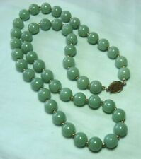 """Aventurine Bead Necklace w Gold Plated Silver Spacers & Clasp 26 1/2"""" long"""