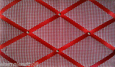 Classic Red Gingham Fabric Notice Board, Pinboard, Memo Message Board 48 X 30cm
