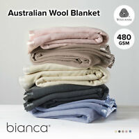 Australian Washable Wool Blanket 480gsm BIANCA Single/Double/Queen/King/Super K