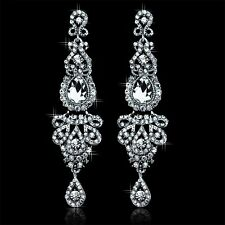 Chandelier Crystal Bridal Earrings White K Plated Long Earrings For Women