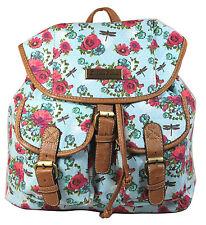 Backpack Ladies Girls Women Rose Bag Dragonfly Rucksack School Gym Travel UK