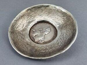 Silber Münzschale/ Münzteller Russland Rubel Moskau Münze aus Nachlass !