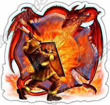 """Fire Dragon Firefighter Flame Fire Fighter Car Bumper Vinyl Sticker Decal 4.6"""""""