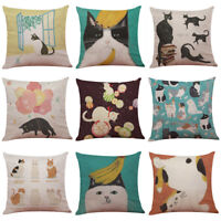 Cute Cat Sofa Bed Home Square Pillow Case Cushion Cover Room Decoration Festival