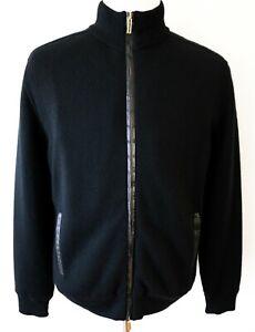 STEFANO RICCI Black Cashmere Crocodile Leather Beaver Fur Bomber Jacket 54 EU XL