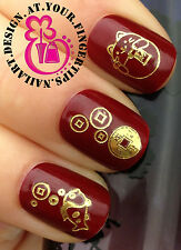 NAIL ART WRAP WATER TRANSFERS STICKERS DECALS GOLD CHINESE LUCKY CAT COIN #49