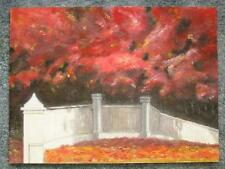 New listing AUTUMN FOLIAGE TREES LEAVES OCTOBER VERMONT WHITE PICKET FENCE ART PAINTING