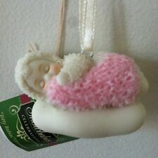 DEPT 56 SNOWBABIES BLANK BITTY BABY GIRL ORNAMENT PINK NEW BORN SHOWER FAVORS