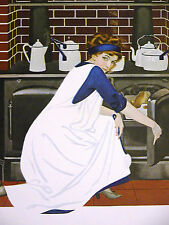 Coles Phillips FADEAWAY GIRL at OLD FASHIONED COAL STOVE 1912 Antique Print Mat