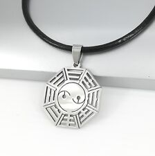 Silver Stainless Steel Yin Yang Bagua Pendant Womens Mens Black Leather Necklace