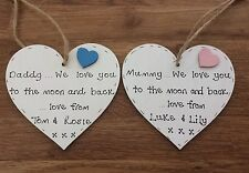 Personalised birthday gift for Mummy/mum/daddy/dad handmade wooden heart