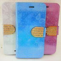Diamond crystal bling glitter flip leather wallet case cover for Various Phones