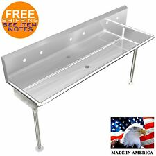 """3 STATION, MULTIUSER WASH UP UTILITY HAND SINK 72"""" WITH LEGS AND HOLES ONLY"""