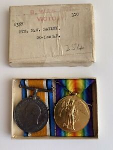 World War One British War Medal and Victory Medal to 6357 Pte. H W Bailey.