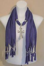 US Seller NEW Womens Necklace Scarf Fashion Purple Silver Cross Pendant Wrap