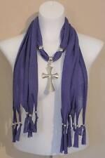 US Seller NEW Womens Necklace Scarf Fashion Purple Silver Cross Pendant Wrap