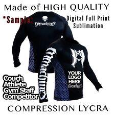 Customized Rashguard Lycra Custom Rash LS MMA BJJ Grappling JiuJitsu S M L XL XX