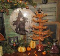 "Primitive Antique Vtg Style 17"" Feather Halloween Jack o Lantern Star Tree ASIS"