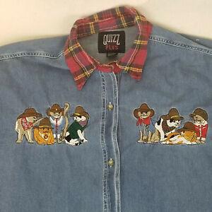 Denim Cowboy Cats Shirt Quizz Plus Womens with Metallic Thread Collar Size  22